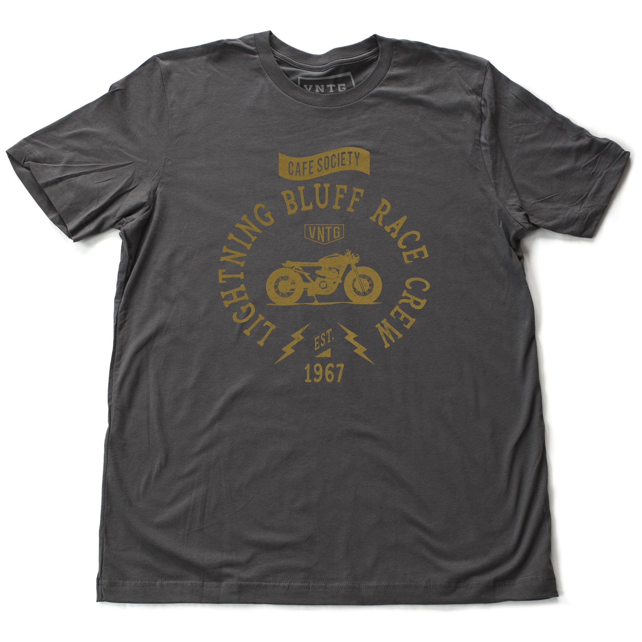"A vintage-inspired retro t-shirt for a fictitious motorcycle race crew. For the café racer genre of vintage motorcycles, this shirt reads ""Lightning Bluff Race Crew, established 1967"" in Asphalt Gray, by fashion brand VNTG., for wolfsaint.net"