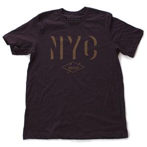 "A retro, vintage-inspired t-shirt in Oxblood/deep burgundy, with a bold ""NYC"" in a gold tone shadow font, and the word ""legends"" inscript below. By fashion brand VNTG., from wolfsaint.net"