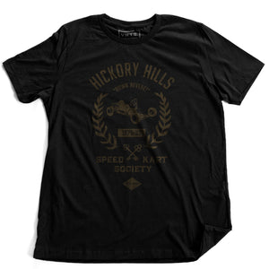 A 'vintage fiction,' retro t-shirt in Black, picturing a go-kart, promoting a small town racing league from 1975-1982 in Hockessin, Delaware. Inspired by the films of Wes Anderson. By fashion brand VNTG., from wolfsaint.net