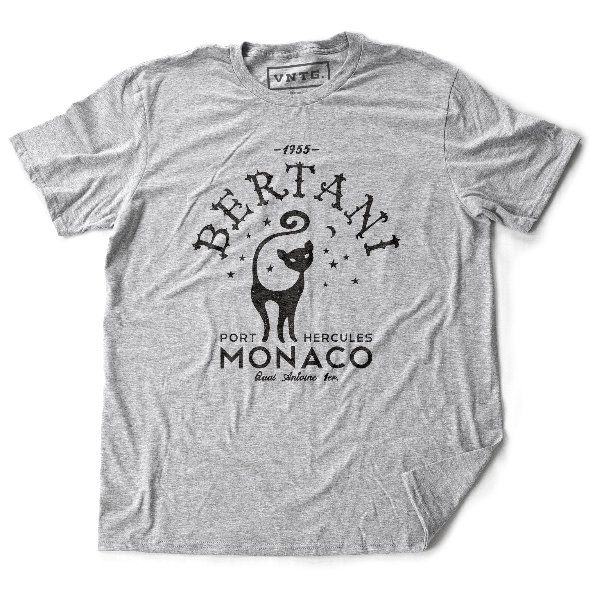 A vintage-look, retro t-shirt that was inspired by the Alfred Hitchcock film To Catch a Thief, and is a tribute to the restaurant Bertani owned by the friend of Cary Grant's character in the film. It features old worlds typography around the image of a cat, meant to symbolize 'John Robie The Cat'—the infamous cat burglar portrayed by Grant and loved by Grace Kelly. This shirt is elegant in Classic Heather Gray, by fashion brand VNTG., from wolfsaint.net