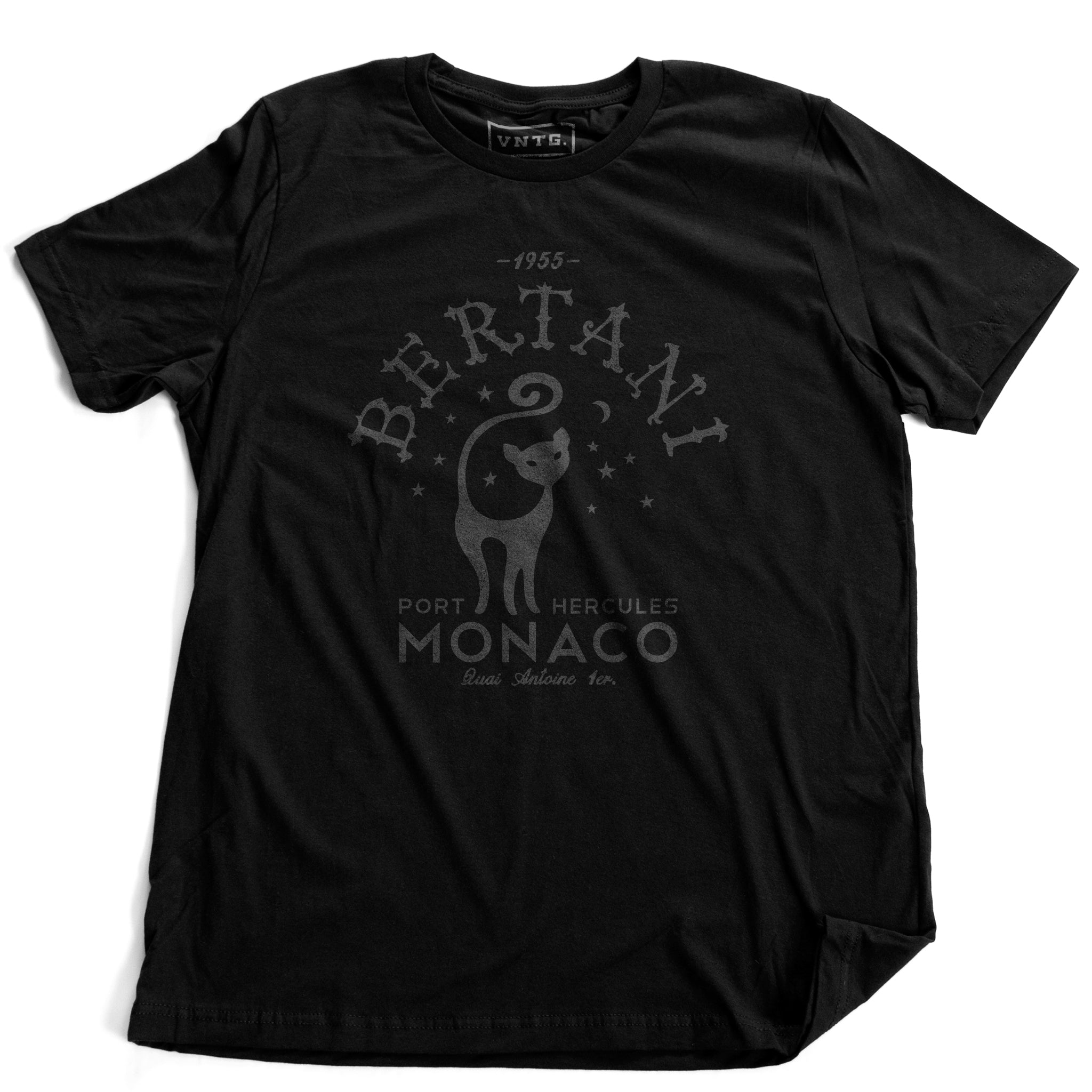 A vintage-look, retro t-shirt that was inspired by the Alfred Hitchcock film To Catch a Thief, and is a tribute to the restaurant Bertani owned by the friend of Cary Grant's character in the film. It features old worlds typography around the image of a cat, meant to symbolize 'John Robie The Cat'—the infamous cat burglar portrayed by Grant and loved by Grace Kelly. This shirt is elegant in Classic black, by fashion brand VNTG., from wolfsaint.net