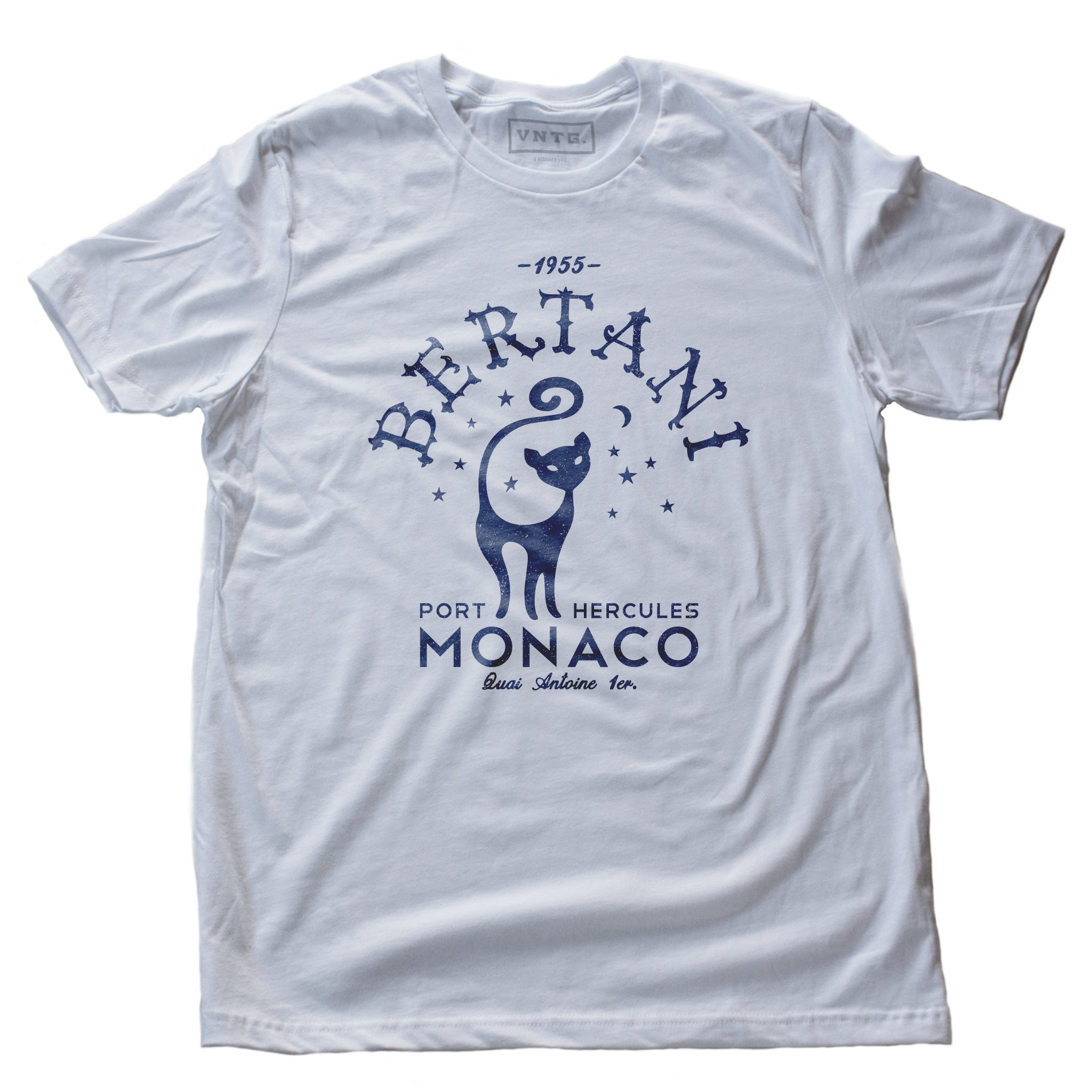 A vintage-look, retro t-shirt that was inspired by the Alfred Hitchcock film To Catch a Thief, and is a tribute to the restaurant Bertani owned by the friend of Cary Grant's character in the film. It features old worlds typography around the image of a cat, meant to symbolize 'John Robie The Cat'—the infamous cat burglar portrayed by Grant and loved by Grace Kelly. This shirt is elegant in Classic White, by fashion brand VNTG., from wolfsaint.net
