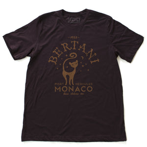 A vintage-look, retro t-shirt that was inspired by the Alfred Hitchcock film To Catch a Thief, and is a tribute to the restaurant Bertani owned by the friend of Cary Grant's character in the film. It features old worlds typography around the image of a cat, meant to symbolize 'John Robie The Cat'—the infamous cat burglar portrayed by Grant and loved by Grace Kelly. This shirt is elegant in Classic Oxblood—a deep burgundy, by fashion brand VNTG., from wolfsaint.net
