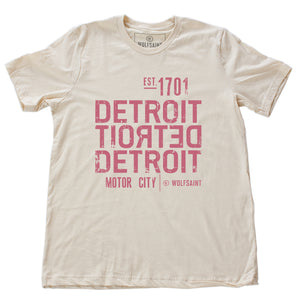 A strong graphic retro t-shirt in Soft Cream, with the word DETROIT — motor city — in bold typography, forward and backward, from Wolfsaint.net