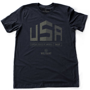 "A graphic t-shirt with a divided large ""USA"" above the text ""divided states of America"" and the WOLFSAINT gothic logo. From wolfsaint.net"