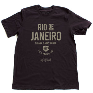 "A retro, vintage-inspired t-shirt in Oxblood—deep burgundy—celebrating The Marvelous City, Rio de Janeiro, with the words ""sol, praia, vida"" below (sun,  beach, life), and the Wolfsaint script logo below that. For wolfsaint.net"
