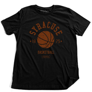 "A vintage inspired, retro t-shirt for the Syracuse University Orangemen / Orange basketball team, formerly playing in Manley Fieldhouse, now playing in the Carrier Dome in Syracuse, New York. The shirt features a basketball graphic, surrounded by the words ""SYRACUSE"" and ""basketball / 1975"" and the VNTG. brand logo. From wolfsaint.net"