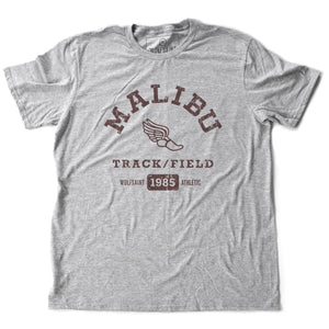 A fashionable, vintage-inspired retro t-shirt in Classic Athletic Heather Gray, featuring a graphic representing a sarcastic and fictitious Malibu (California) Track and Field team. From wolfsaint.net
