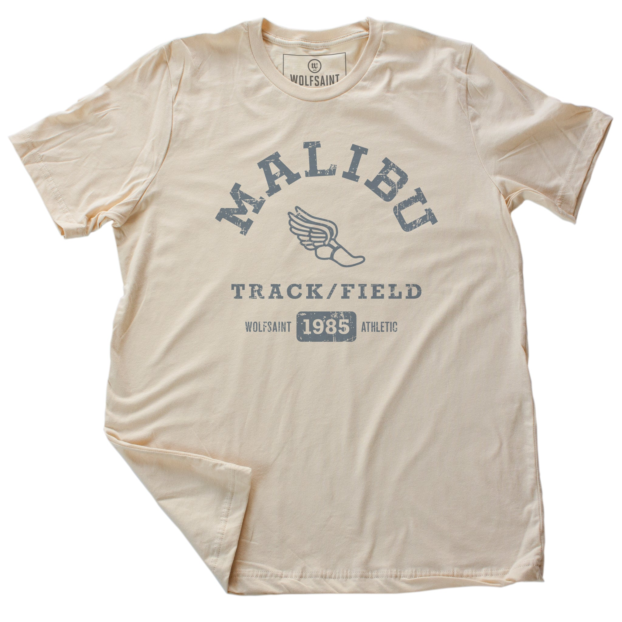 A fashionable, vintage-inspired retro t-shirt in Classic Vintage Soft Cream, featuring a graphic representing a sarcastic and fictitious Malibu (California) Track and Field team. From wolfsaint.net