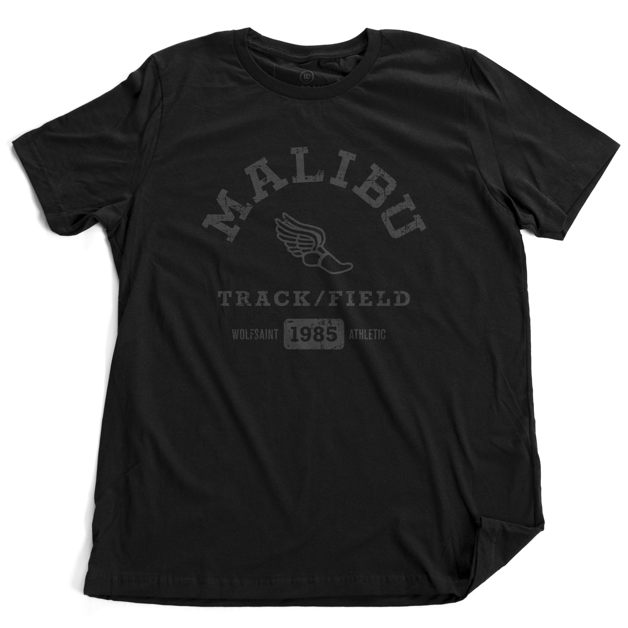 A fashionable, vintage-inspired retro t-shirt in Classic Black, featuring a graphic representing a sarcastic and fictitious Malibu (California) Track and Field team. From wolfsaint.net