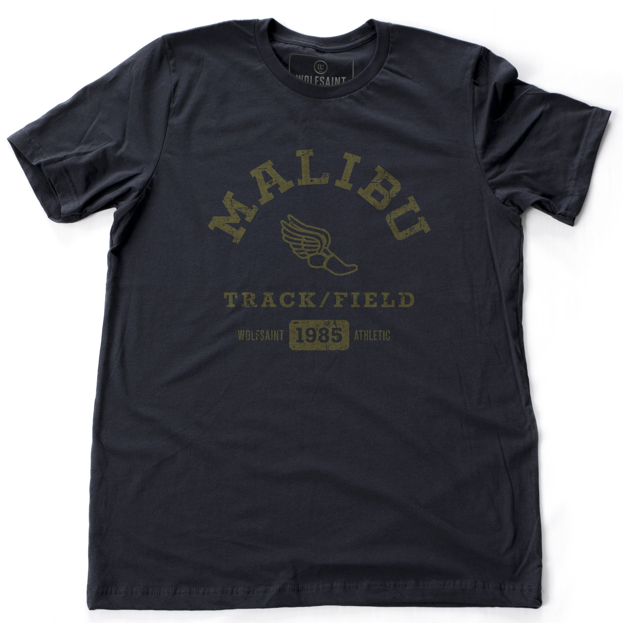 A fashionable, vintage-inspired retro t-shirt in Classic Navy Blue, featuring a graphic representing a sarcastic and fictitious Malibu (California) Track and Field team. From wolfsaint.net