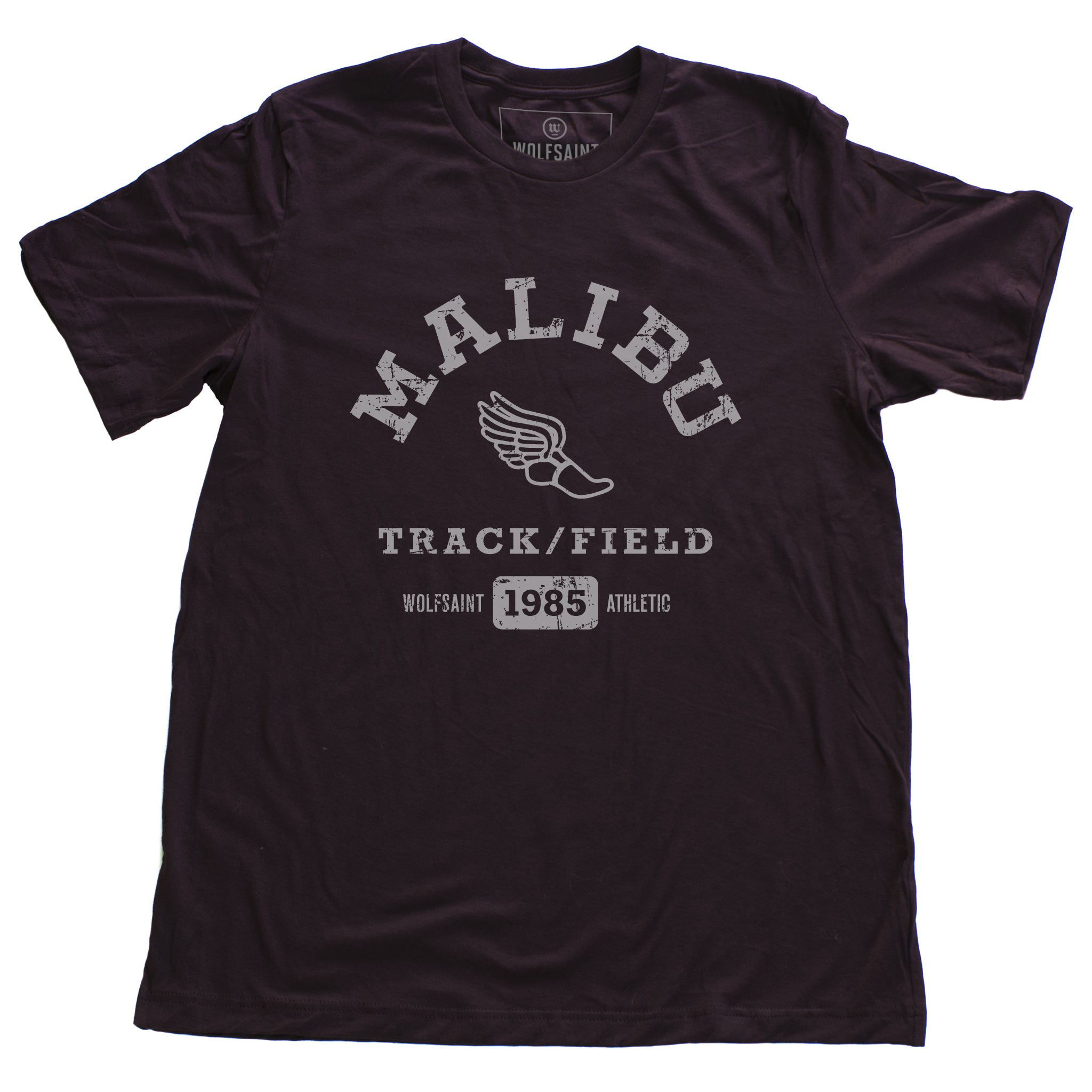 A fashionable, vintage-inspired retro t-shirt in Oxblood/maroon, featuring a graphic representing a sarcastic and fictitious Malibu (California) Track and Field team. From wolfsaint.net