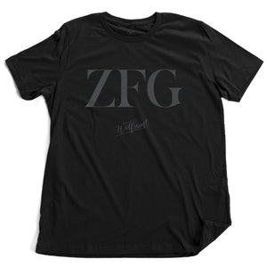 "An elegant fashionable black graphic t-shirt that ironically represents a sarcastic and vulgar contemporary meme phrase ""zero fucks given,"" a version of ""no fucks given""—in this case, the typography says only ""ZFG"" in a large fashion magazine font. By WOLFSAINT, available from. Wolfsaint.net"
