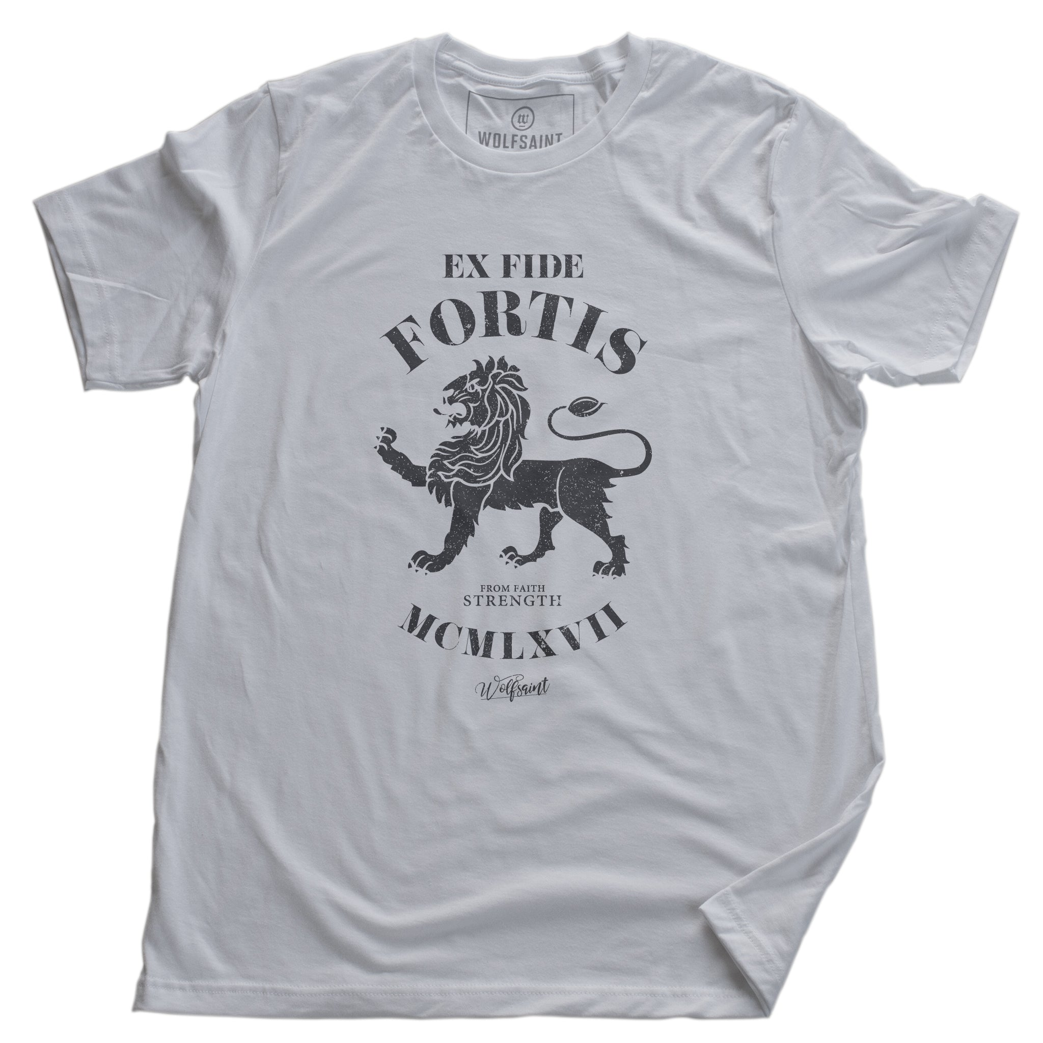 "A vintage-inspired classic white retro t-shirt featuring a strong graphic of a lion, with the Latin phrase meaning ""Out of faith, strength."" By wolfsaint.net"