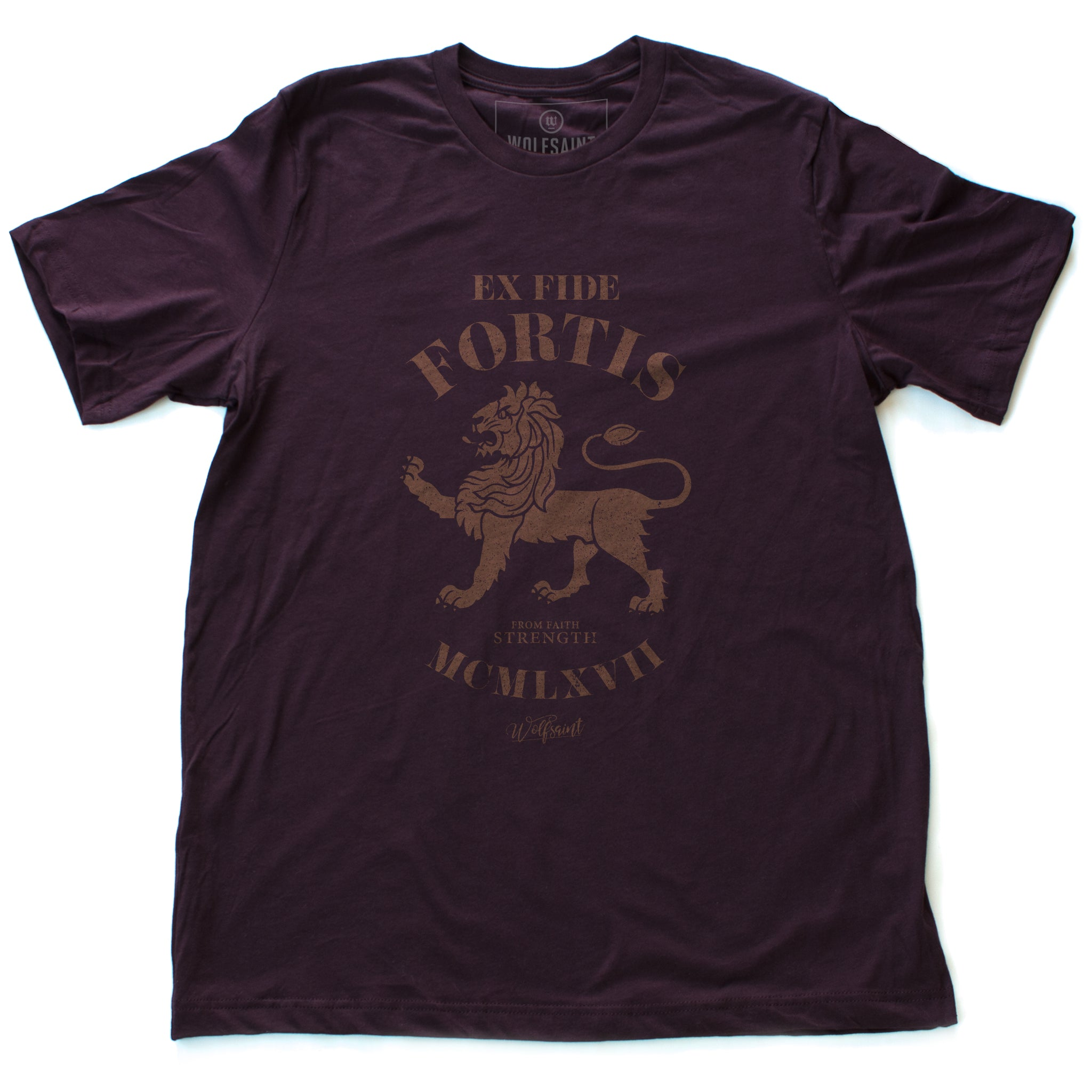 "A vintage-inspired classic oxblood retro t-shirt featuring a strong graphic of a lion, with the Latin phrase meaning ""Out of faith, strength."" By wolfsaint.net"
