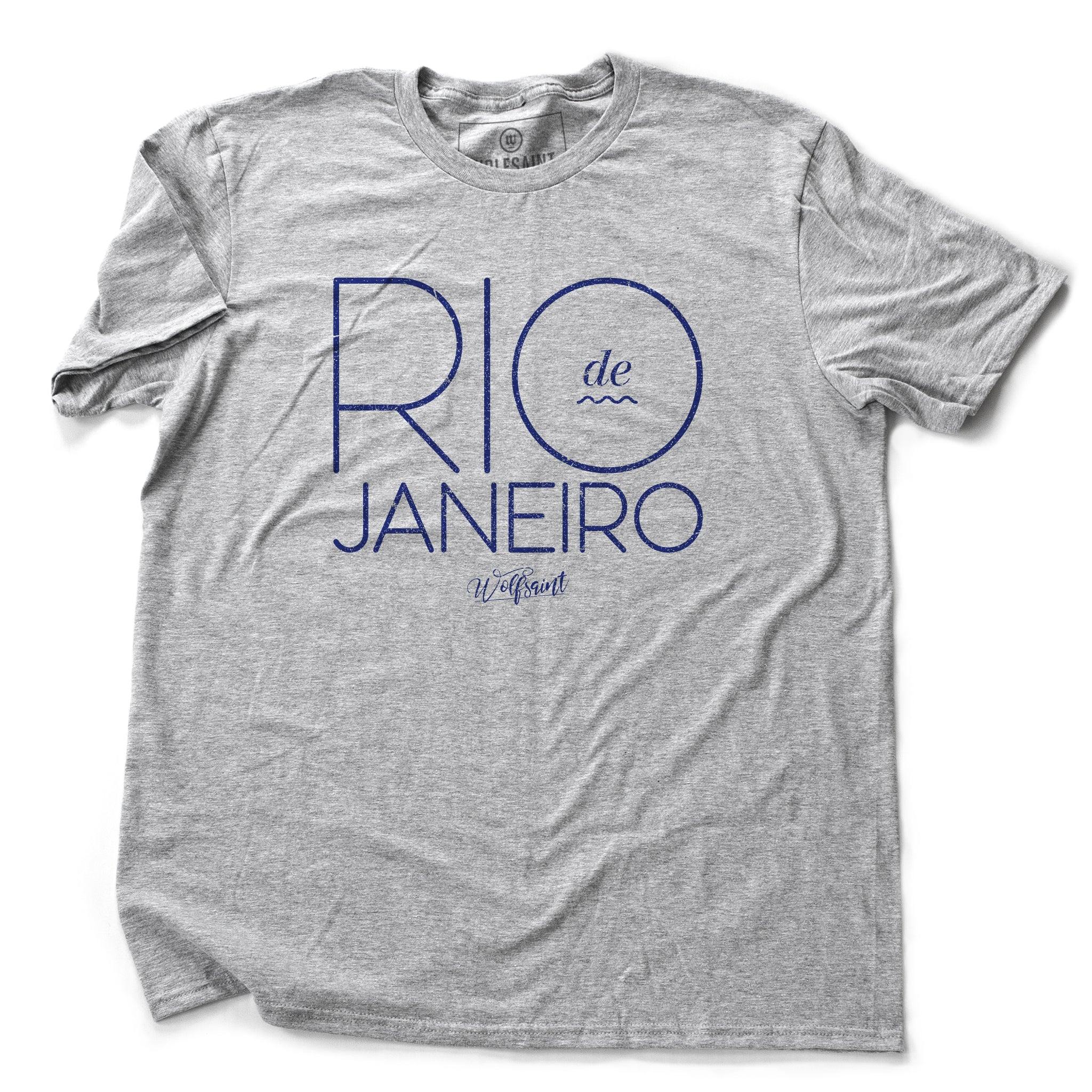 An elegant, retro design fashion t-shirt with RIO DE JANEIRO in large blue/purple typography in a thin font on Athletic Gray Heather. The Wolfsaint script logo is below. From Wolfsaint.net