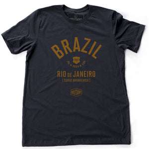 "Navy Blue retro t-shirt with classic typography and graphic of BRAZIL (Brasil) and Rio de Janeiro, ""Cidade Maravilhosa"" (The Marvelous City) by brand Wolfsaint, with the date 1967, and sun, beach, life in Portuguese (Sol Praia Vida). From wolfsaint.net"