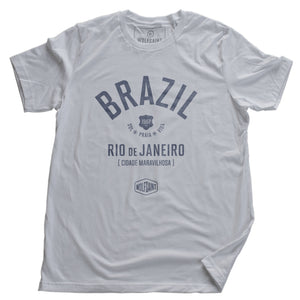 "White retro t-shirt with classic typography and graphic of BRAZIL (Brasil) and Rio de Janeiro, ""Cidade Maravilhosa"" (The Marvelous City) by brand Wolfsaint, with the date 1967, and sun, beach, life in Portuguese (Sol Praia Vida). From wolfsaint.net"