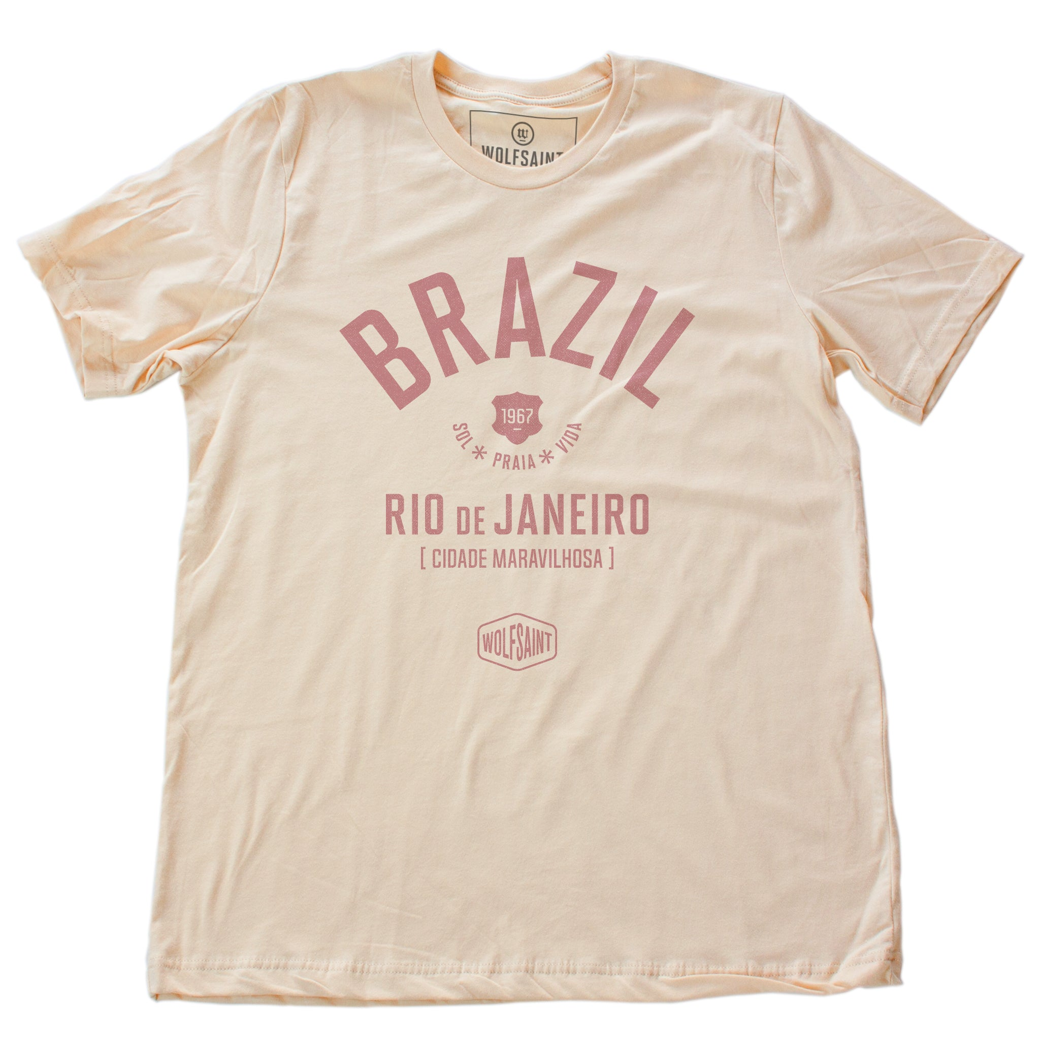 "Soft Cream retro t-shirt with classic typography and graphic of BRAZIL (Brasil) and Rio de Janeiro, ""Cidade Maravilhosa"" (The Marvelous City) by brand Wolfsaint, with the date 1967, and sun, beach, life in Portuguese (Sol Praia Vida). From wolfsaint.net"