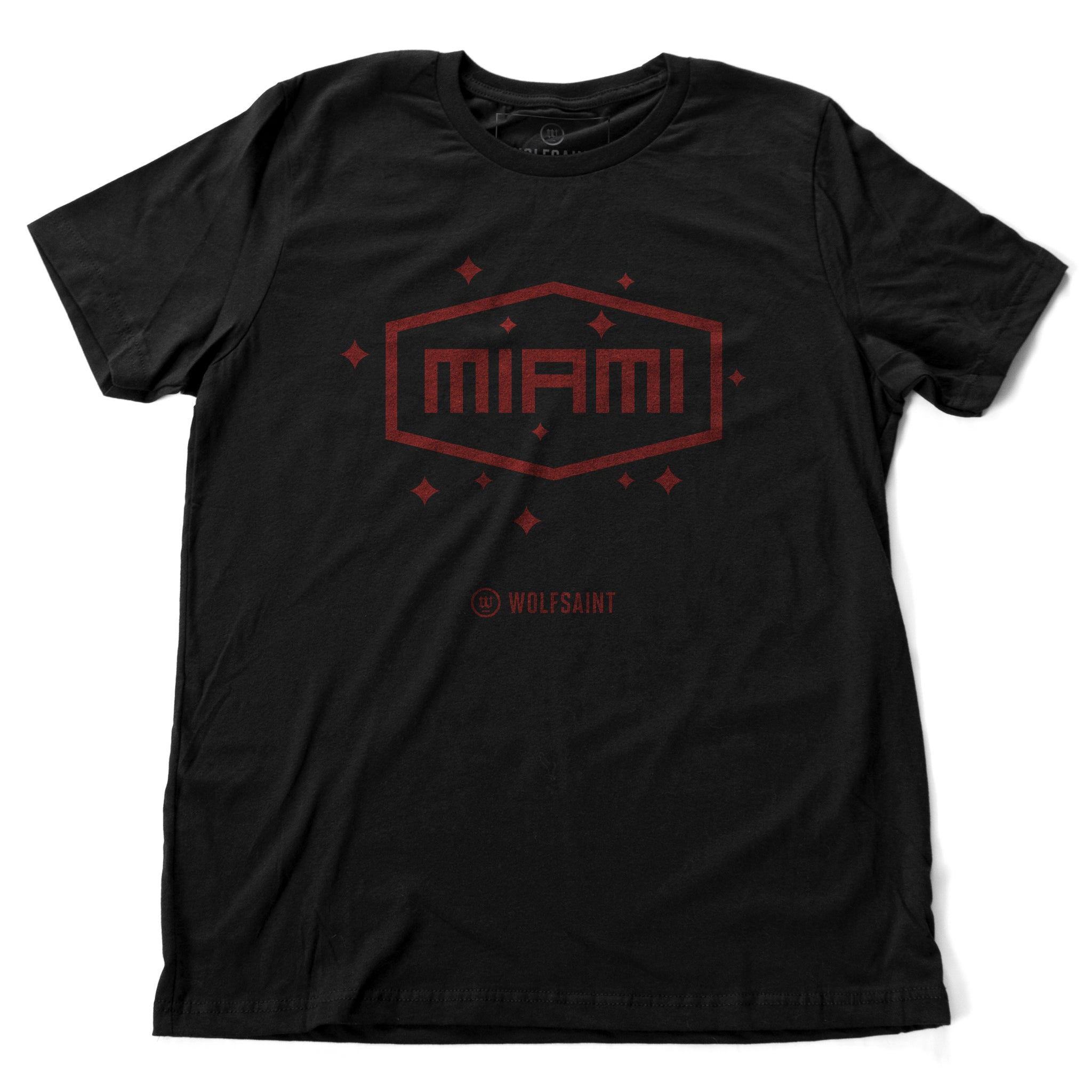 "A vintage-inspired, retro fashion t-shirt in classic Black with a simple red ""MIAMI"" graphic in a field of stars. From wolfsaint.net"