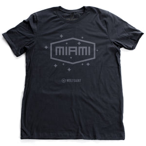 "A vintage-inspired, retro fashion t-shirt in classic Navy Blue with a simple ""MIAMI"" graphic in a field of stars. From wolfsaint.net"