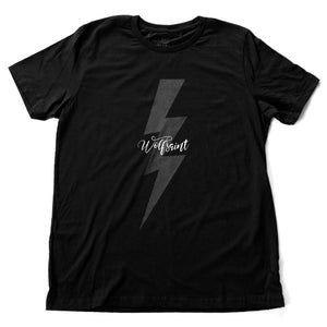 "A classic fashion t-shirt in black, with retro lightning bolt graphic and the Wolfsaint script logo on the front, and bold typography ""Live fast. Live long"" on the back. From wolfsaint.net"