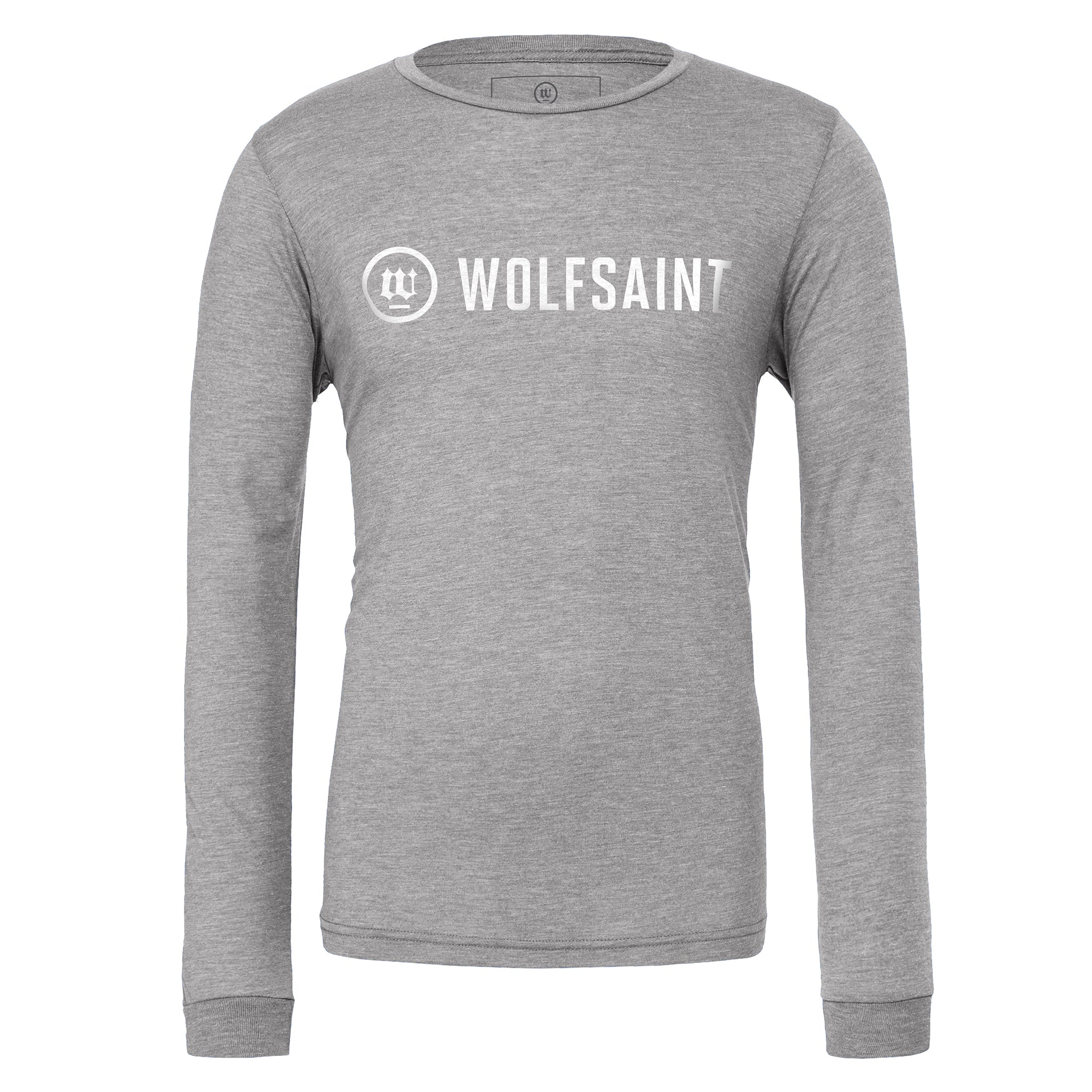 A simple, elegant unisex long sleeved t-shirt in Athletic Heather Gray, with the fashionable WOLFSAINT logo branding across the chest in white. From Wolfsaint.net