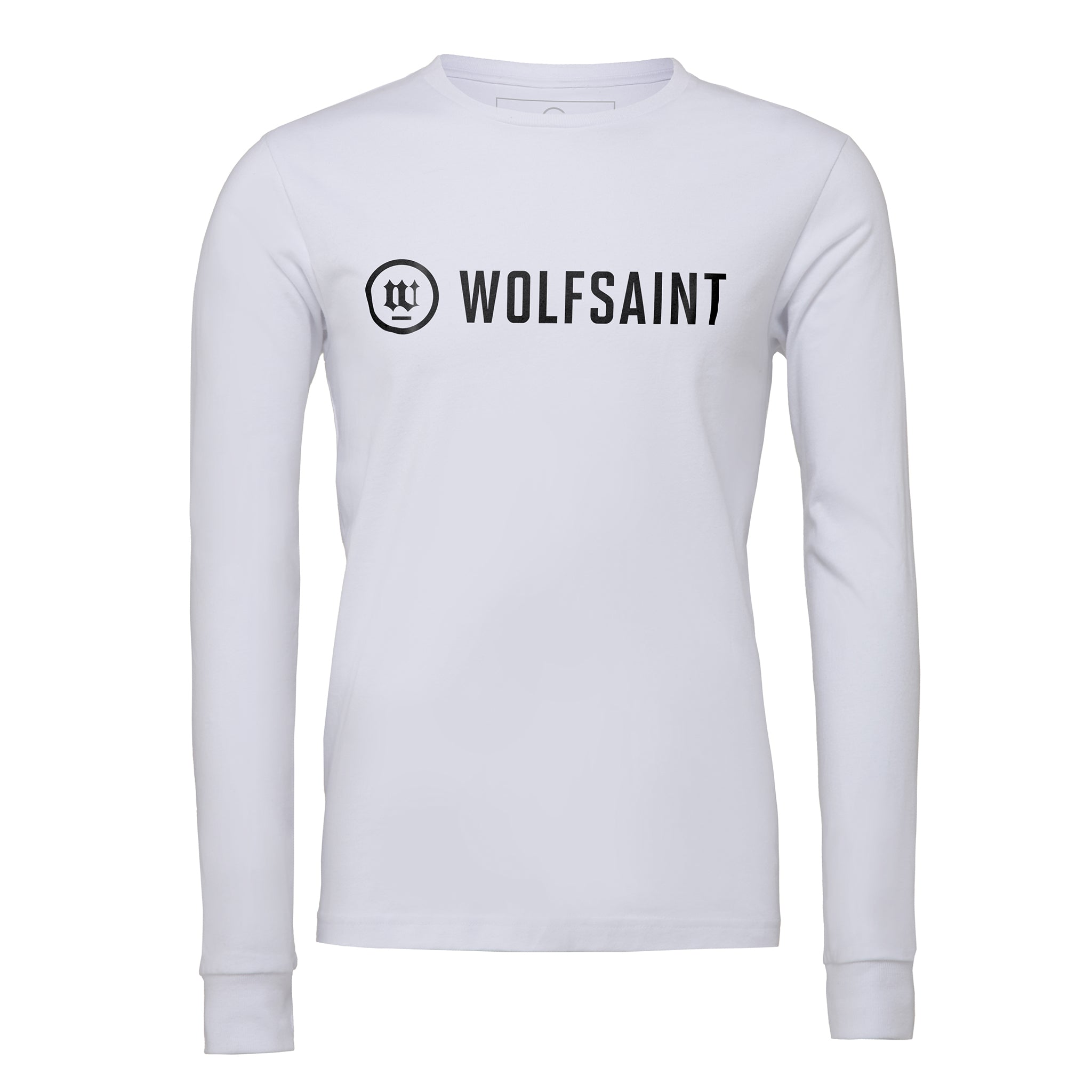 A simple, elegant unisex long sleeved t-shirt in White, with the fashionable WOLFSAINT logo branding across the chest in black. From Wolfsaint.net