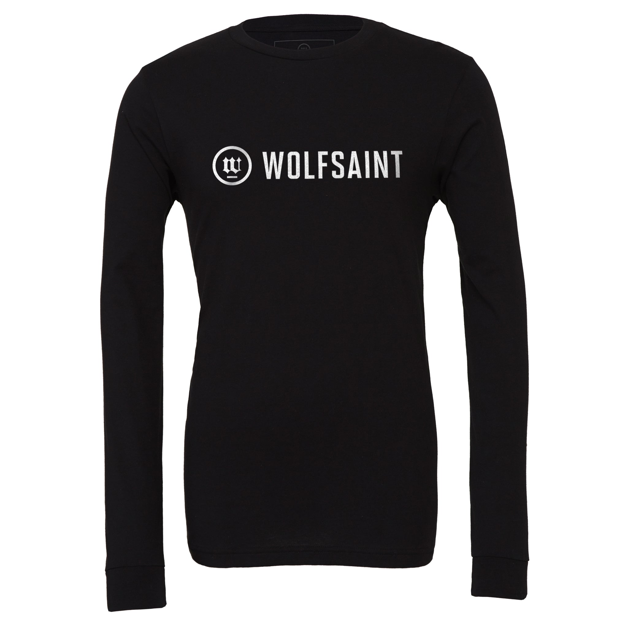 A simple, elegant unisex long sleeved t-shirt in Classic Black, with the fashionable WOLFSAINT logo branding across the chest in white. From Wolfsaint.net