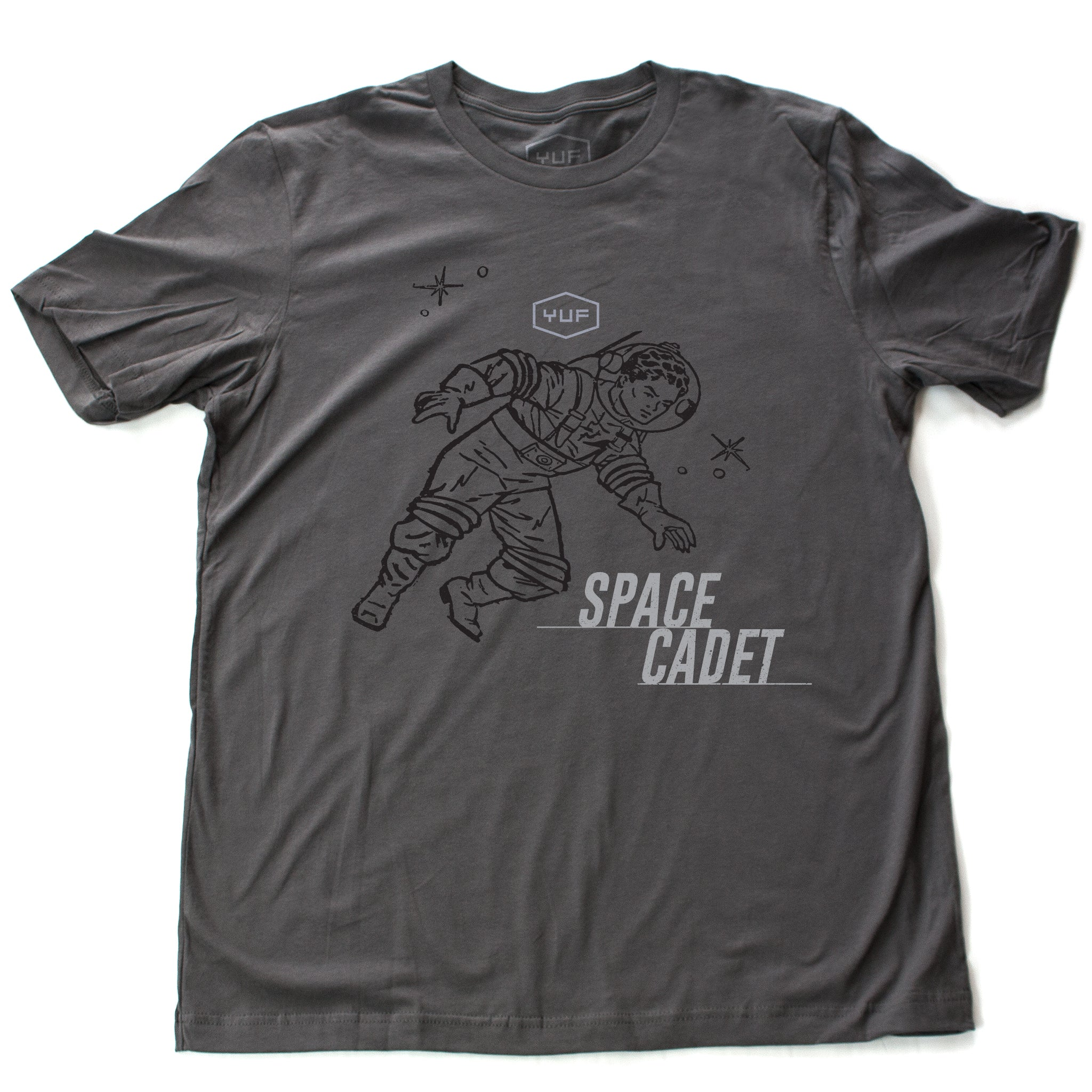 "A sarcastic, self-deprecating vintage-inspired, retro design fashion t-shirt in Asphalt Gray, featuring an astronaut or spaceman, amid stars, and the word ""SPACE CADET."" By fashion brand YUF, for wolfsaint.net"