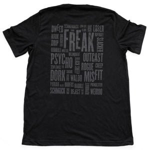 "A sarcastic graphic t-shirt in black, featuring a collage of self-deprecating ""nerd,"" ""freak,"" and ""geek"" synonyms. By fashion brand YUF, from wolfsaint.net"