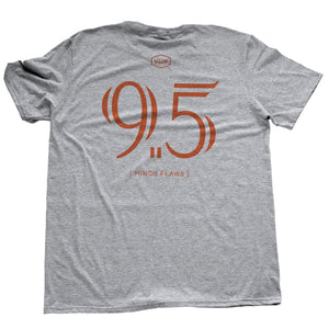 "Athletic Gray / Grey sarcastic, ironic t-shirt with mocking, self-deprecating large ""9.5"" graphic, referring to 'almost a perfect 10' in the style of a sports jersey"