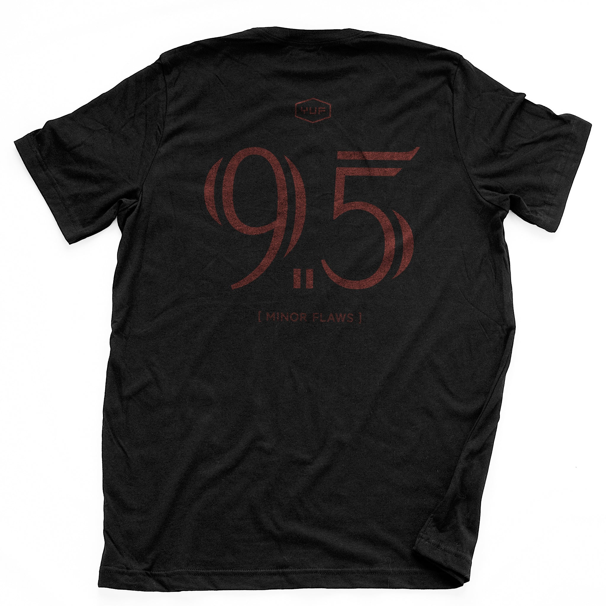 "Black sarcastic, ironic t-shirt with mocking, self-deprecating large ""9.5"" graphic, referring to 'almost a perfect 10' in the style of a sports jersey"