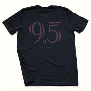 "Navy blue sarcastic, ironic t-shirt with mocking, self-deprecating large ""9.5"" graphic, referring to 'almost a perfect 10' in the style of a sports jersey"