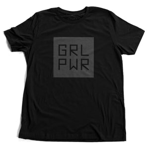 "A black unisex t-shirt with a bold graphic representing ""Girl Power,"" abbreviated as GRL PWR. By fashion brand YUF, from wolfsaint.net"