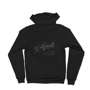 "A trendy hoodie sweatshirt in Black, with the elegant Wolfsaint script logo in gray, and the Wolfsaint cities listed below: ""New York, Rio de Janeiro, Los Angeles"". From Wolfsaint.net"