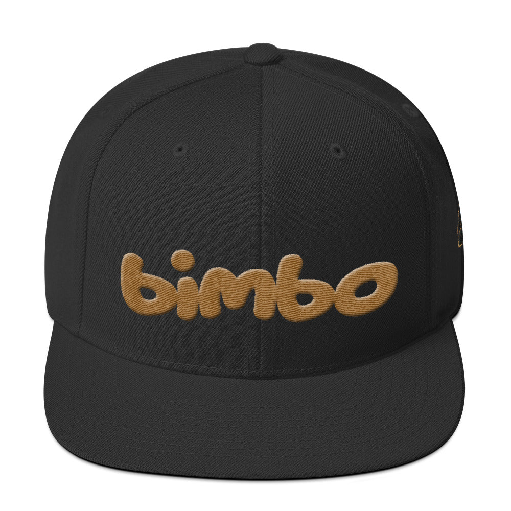 Black retro, classic snapback baseball cap with the sarcastic/ironic word BIMBO embroidered in a streetwise bubble / graffiti font for skateboarders, rappers, athletes, etc. From wolfsaint.net