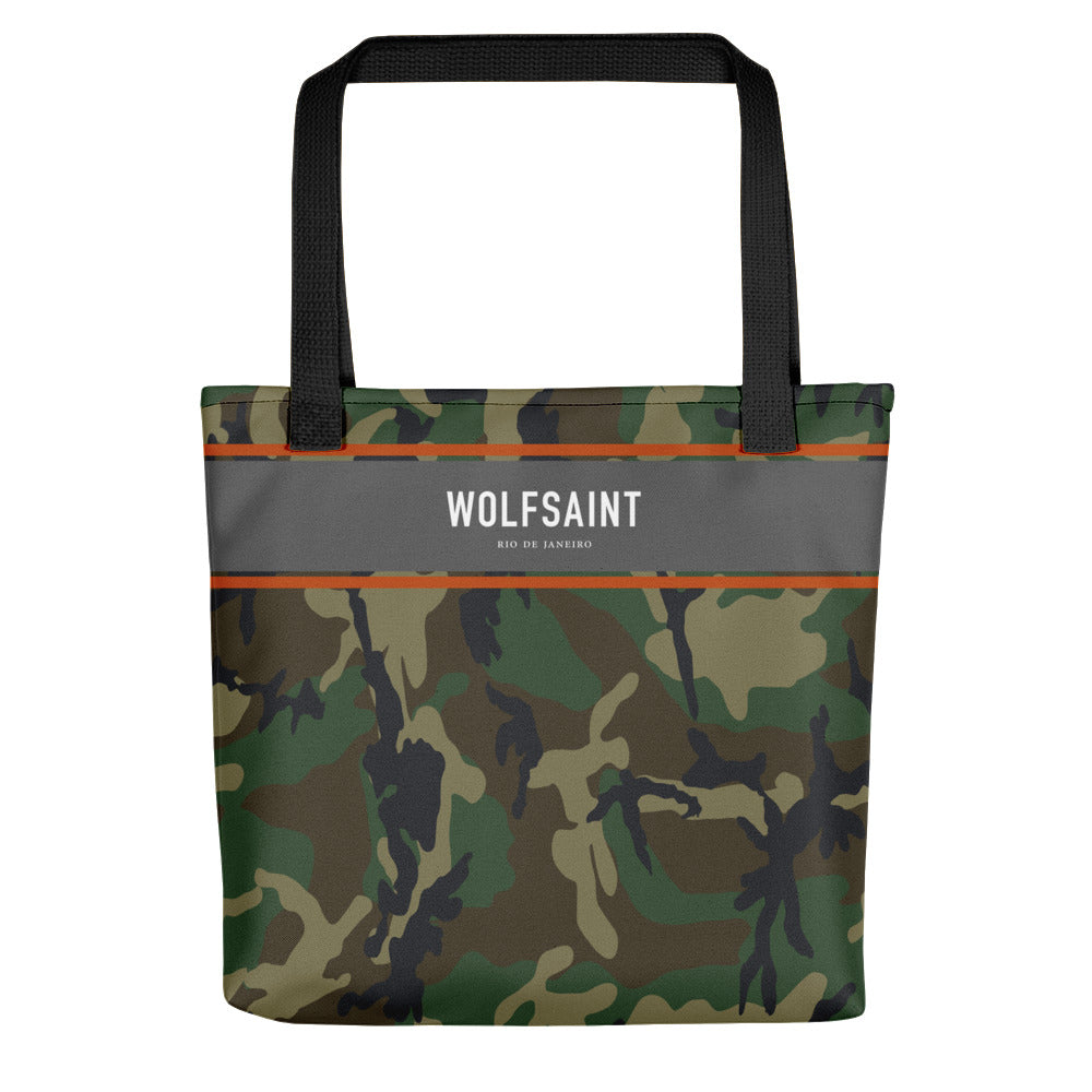 "A medium sized stylish unisex beach or city tote bag, with an all-over camouflage / camo print, and a thick gray band at the top, with the WOLFSAINT gothic logo and ""Rio de Janeiro"" in small print. From Wolfsaint.net"