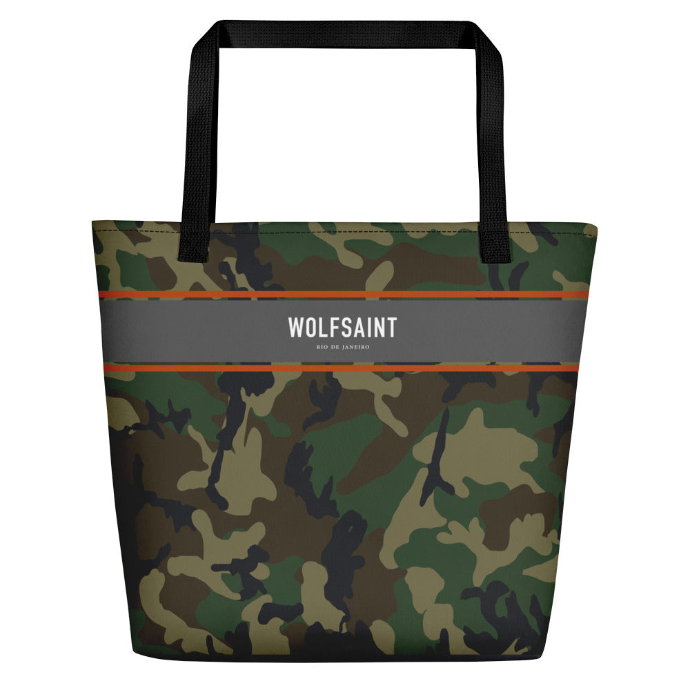 "A large sized stylish unisex beach or city tote bag, with an all-over camouflage / camo print, and a thick gray band at the top, with the WOLFSAINT gothic logo and ""Rio de Janeiro"" in small print. From Wolfsaint.net"