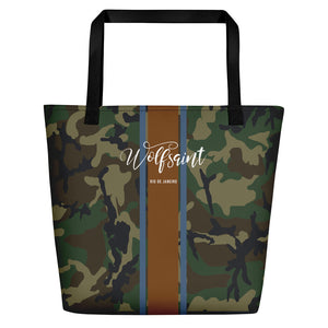 "A elegant fashion-branded beach or city tote bag with a camo camouflage all-over pattern, and Solid vertical bands with the WOLFSAINT script logo and ""Rio de Janeiro"" in small type horizontally across it. From Wolfsaint.net"