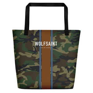 "A elegant fashion-branded beach or city tote bag with a camo camouflage all-over pattern, and Solid vertical bands with the WOLFSAINT gothic logo and ""Rio de Janeiro"" in small type horizontally across it. From Wolfsaint.net"