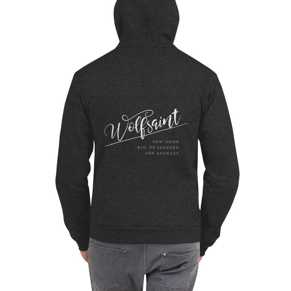 "A trendy hoodie sweatshirt in Dark Heather Gray, with the elegant Wolfsaint script logo in white, and the Wolfsaint cities listed below: ""New York, Rio de Janeiro, Los Angeles"". From Wolfsaint.net"