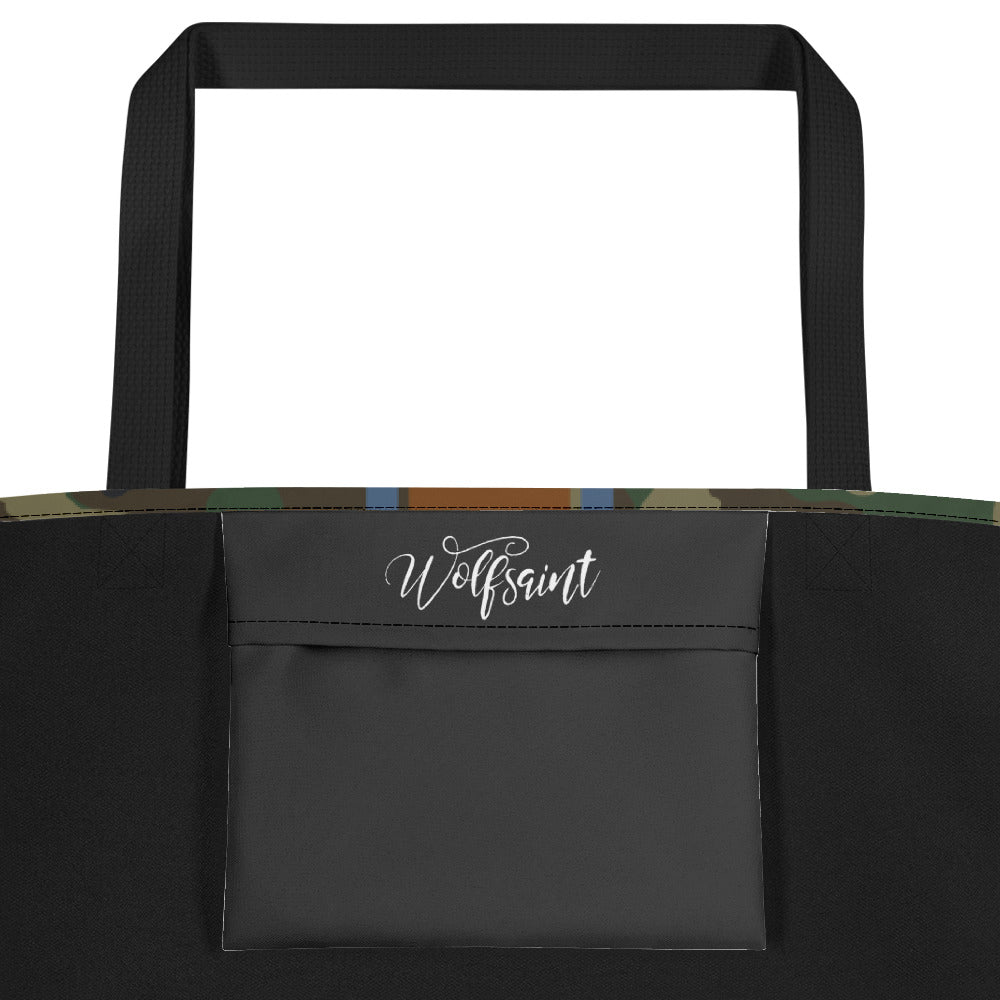 "Wolfsaint [Gothic + Vert Stripes] Camo City/Beach Tote — 20""w x 16""h"