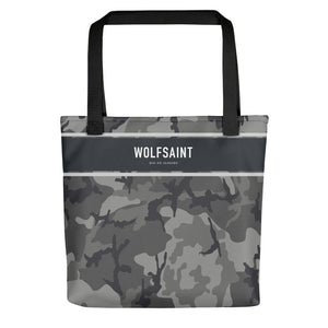"A elegant fashion-branded beach or city tote bag with a camo camouflage all-over pattern, and a solid band near the top with the WOLFSAINT gothic logo and ""Rio de Janeiro"" in small type. From Wolfsaint.net"