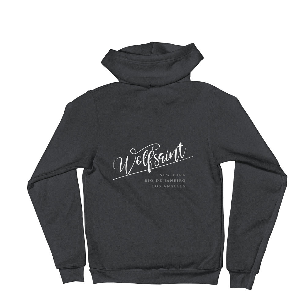 "A trendy hoodie sweatshirt in Asphalt, with the elegant Wolfsaint script logo in white, and the Wolfsaint cities listed below: ""New York, Rio de Janeiro, Los Angeles"". From Wolfsaint.net"