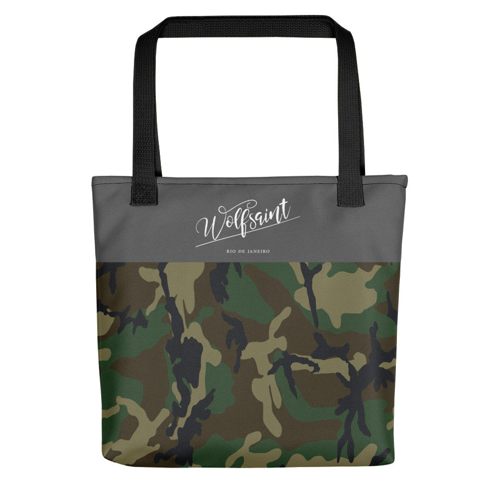 "A medium sized stylish unisex beach or city tote bag, with an all-over camouflage / camo print, and a thick gray band at the top, with the Wolfsaint script logo and ""Rio de Janeiro"" in small print. From Wolfsaint.net"