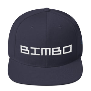 Navy Blue retro, classic snapback baseball cap with the sarcastic/ironic word BIMBO embroidered in a streetwise square techno font for skateboarders, rappers, athletes, etc. From wolfsaint.net