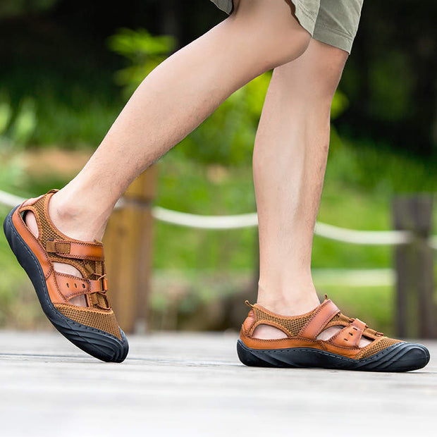 Men Fashion Non-slip Sandals Genuine Leather Beach shoes