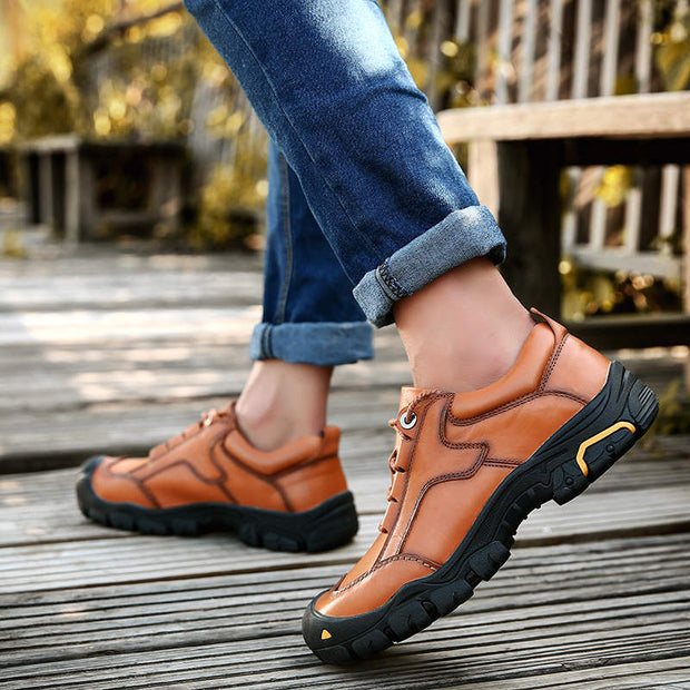 Men's Spring Autumn Genuine Leather Soft Round-Toe Casual Shoes