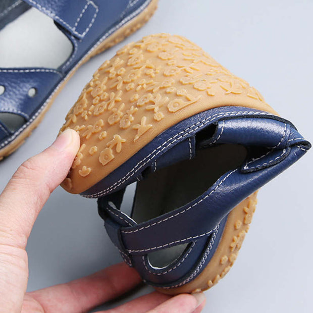 Women Summer Genuine Leather Hollow Flats Sandals